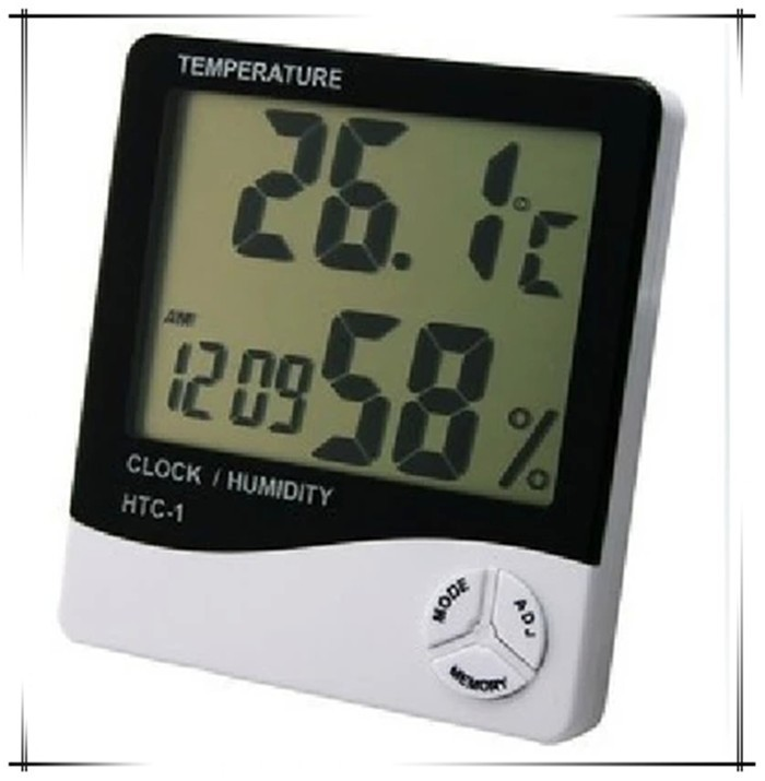 Digital Thermometer Hygrometer Weather Station Digital Temperature Humidity Meter with clock Moisture Meter HTC-1