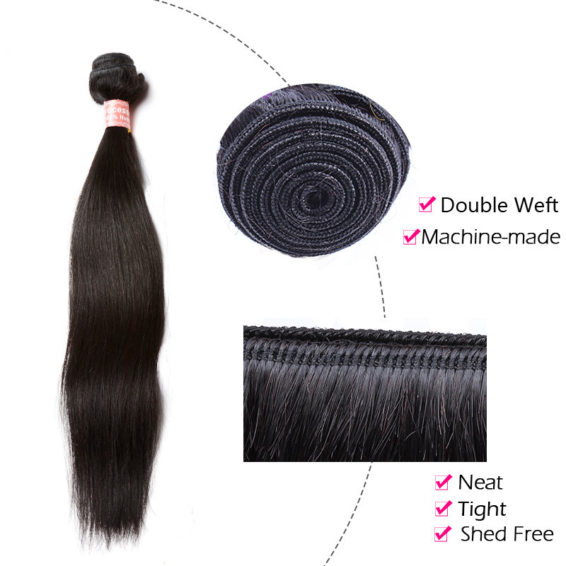 CARA Brazilian Virgin Hair Straight Natural Color 100% Human Hair Weaving Machine Double Weft