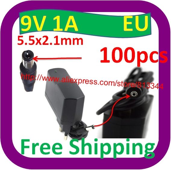 100 pcs Free Shipping AC 100V-240V Converter Adapter DC 9V 1A / 1000mA DC Size 5.5 mm x 2.1mm 10W Power Supply Charger EU Plug(China (Mainland))