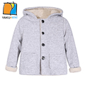 YKYY YAKUYIYI Solid Gray Girl Outwear Single Breasted Baby Girl Outerwear Coat Soft Fluffy Hooded Children