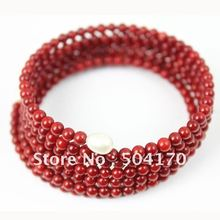 4mm Round Red Coral Beads Bracelets Decorated With 8mm White Rice Pearls Stainless Steel Chain Handcrafted Charms Bracelets(China (Mainland))