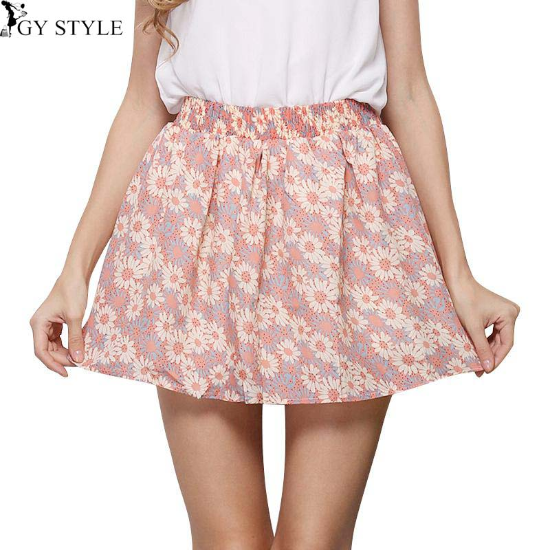 2016 Hot Sale Summer Fashion font b Kilt b font Floral Print Style Women Mini Pleated