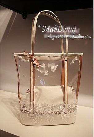 2014 women's handbag lace crystal bag jelly bag picture package shoulder bag handbag transparent tote(China (Mainland))
