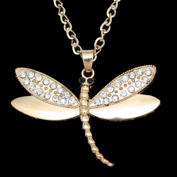 2016 Long Rhinestone Dragonfly Necklace Gold Silver Chain Necklace Pendant Women Men Jewelry Accessories Animal Necklaces nkem71(China (Mainland))