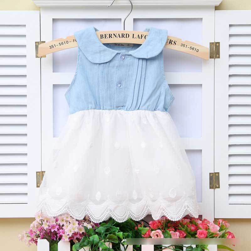 Newborn Dress 2015 Summer New Fashion Denim Baby Dresses Girls Lace Vestido Infantil Meninas Recem Nascido - Love Infant store