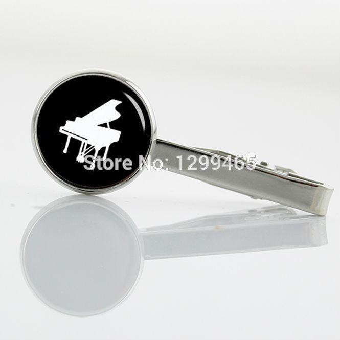 New Arrival piano Tie Clips Musical instrument silhouette art picture tie pin Interesting Wear Necktie Tie Clip T 765(China (Mainland))