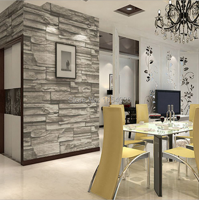 New 3d Luxury Wood Blocks Effect Brown Stone Brick 10m Vinyl Wallpaper Roll Living Room