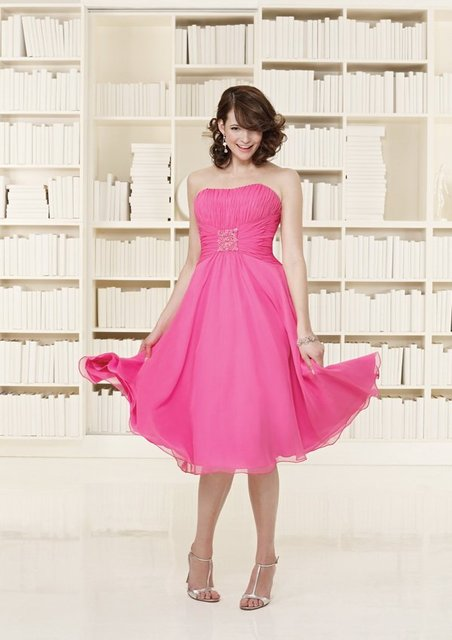 Freeshipping New Arrival Best Selling Strapless Chiffon Short Prom Dress / Bridesmaid Dress/Bridesmaid Gown/Cocktail Dress BN186