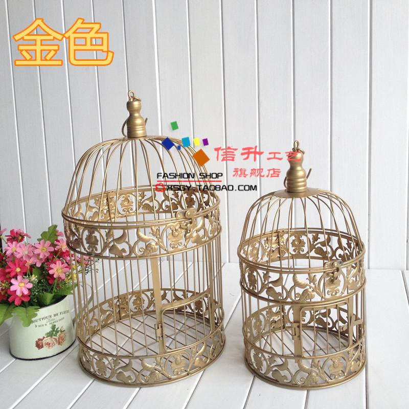 Free Shipping Fashion Iron Birdcage Wedding Decoration Props Gold Vintage Birds Cage