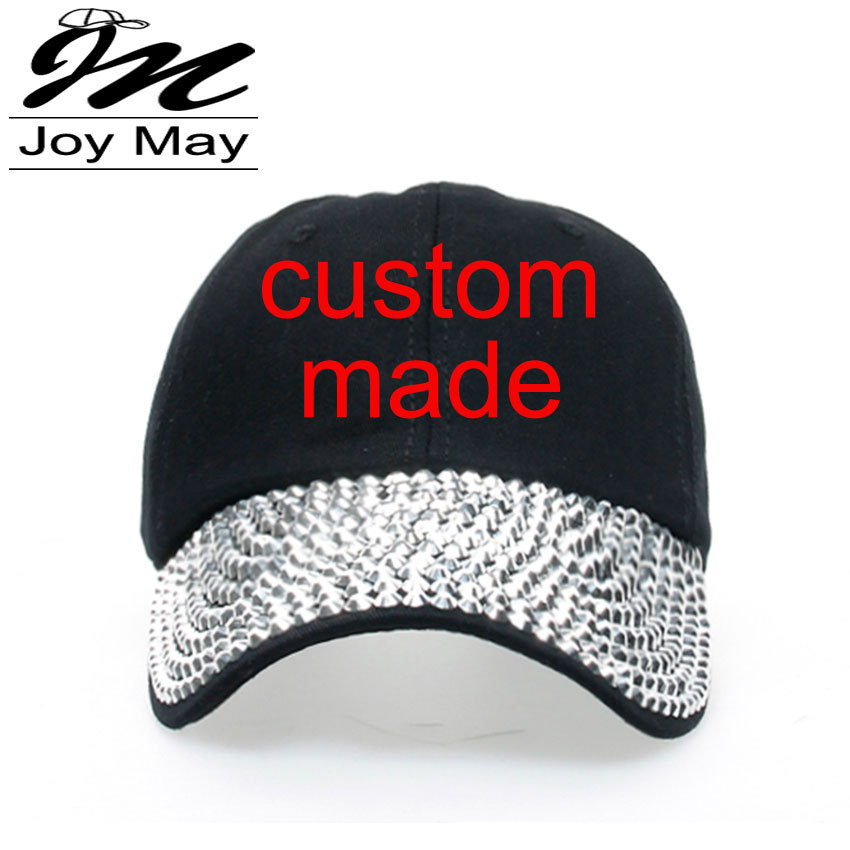 1pc Free shipping High quality Fashion Unisex Custom Made Cap Demin Fabric Jean Cap Rhinestone Baseball Cap B125(China (Mainland))