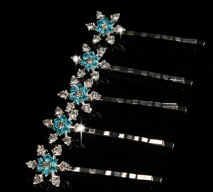 girls snowflake hairpin crystal turquoise rhinestone hair clip vintage cartoon hair accessories(China (Mainland))