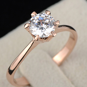 18K Розовый Золото Plated Forever Classic 6 Prong Round Sparkling Solitaire CZ Свадьба ...