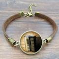 Newest Vintage Brown Rope Bracelet Men Unique Accordion Glass Art Picture Fashion Leather Bracelets for Women