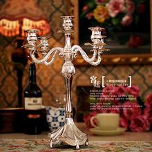 European High Pin silver plated 5 Heads candelabra Fashion Art Design candlesticks silver plated(China (Mainland))