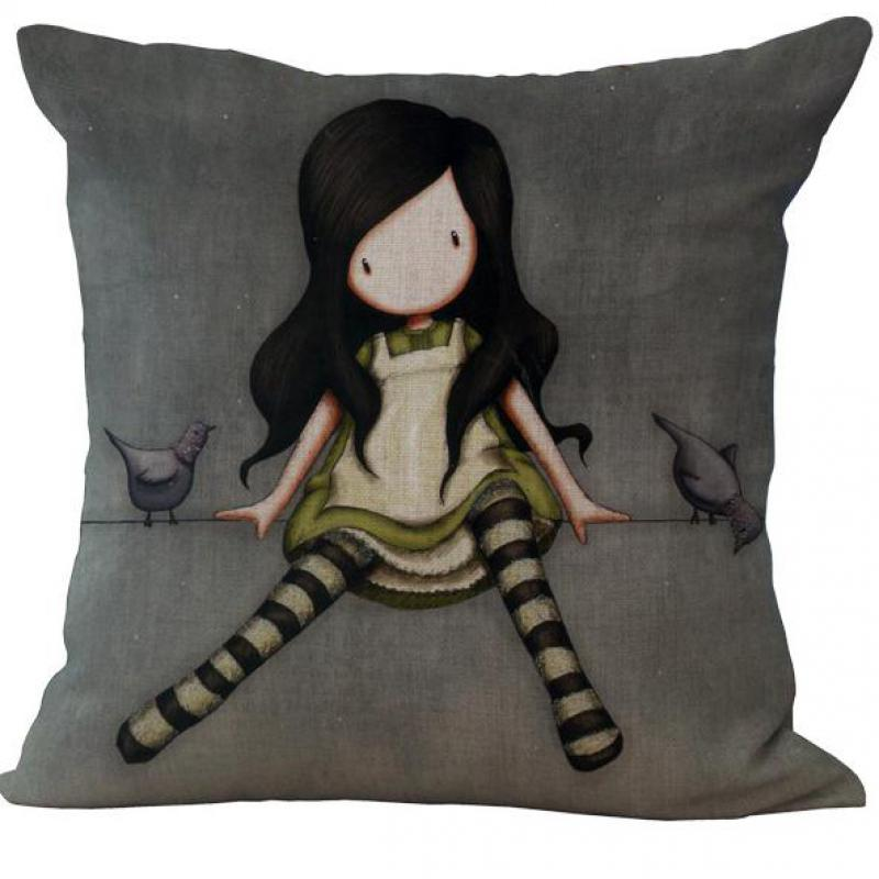 2016 Hot Selling Lonely Long haired Girl Doll Cotton Linen Throw Pillow Case For Home Kids