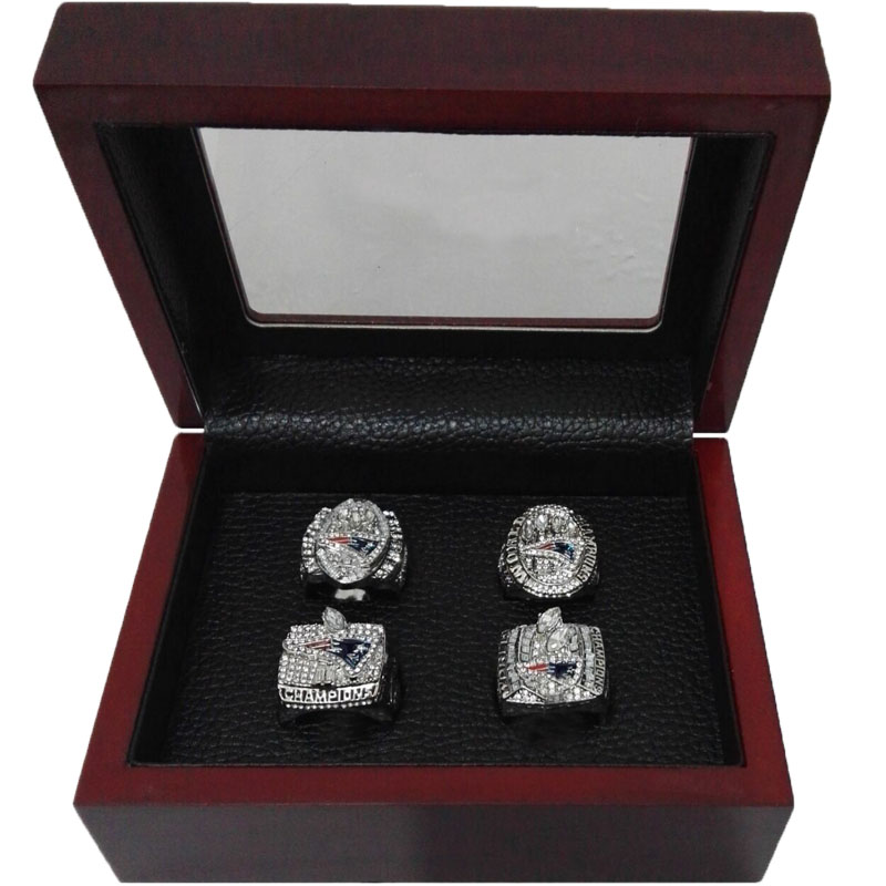 Alloy Rings Sets for Replica Super Bowl 4 Years Sets 2001/2003/2004/2014 New England Patriots Championship Ring With Wooden Box(China (Mainland))