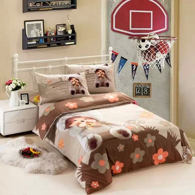 Здесь можно купить  Kids cartoon bedding sets boys girls twin size doona quilt duvet cover 100% cotton bed sheets bedspread bedroom linen Monchhichi  Дом и Сад