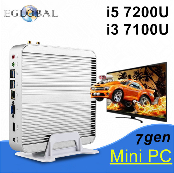 Fanless pc Nettop 7th Gen kaby Lake Windows 10 Mini PC with Core i5 7200U i3 7100U 4K VGA HDMI HTPC WiFi Intel HD Graphics 620(China (Mainland))