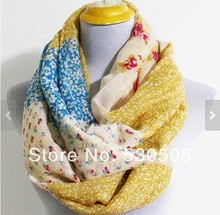 Floral Colorblock Infinity Scarf Chunky and Silky Polka Dot Scarf Christmas Gift Girly Scarf Flower Scarf