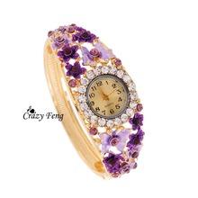 Free Shipping newest enamal flower Charm jewelry Women Wristwatch 18K Gold Plated Bangle Cuff quartz watch relogio feminino