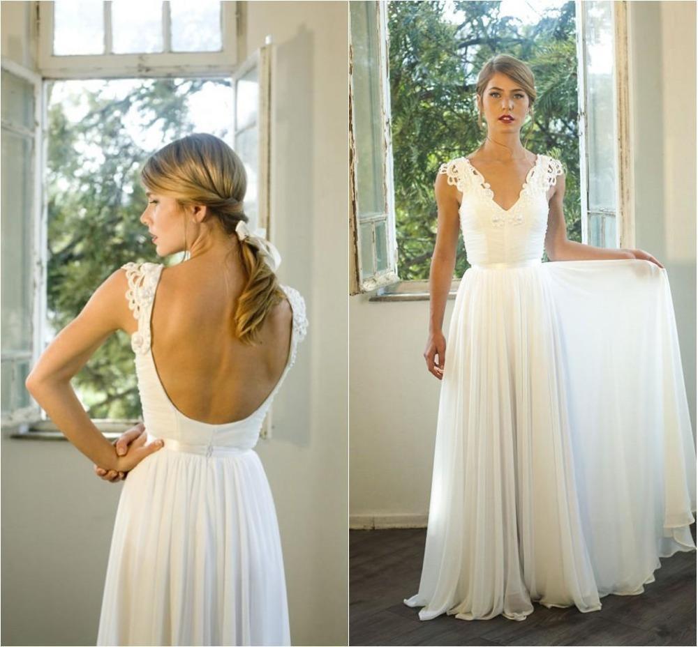 Elegant Beach Wedding Dresses V Neck Lace Bridal Gowns