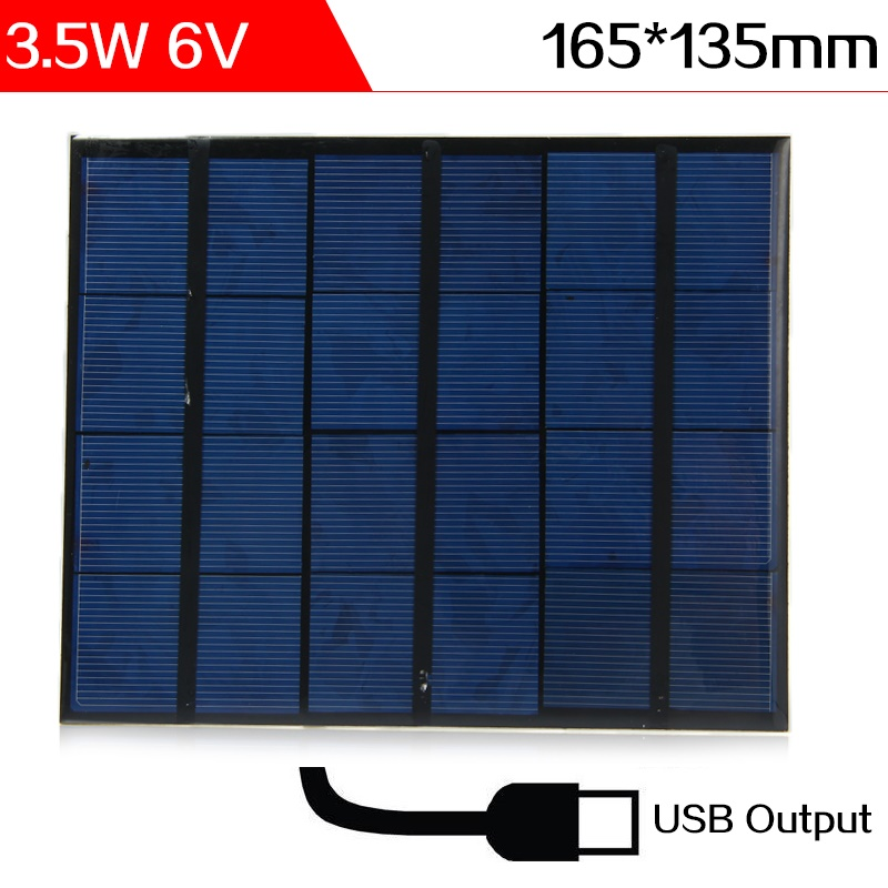 ELEGEEK 2pcs 3.5W 6V 580mA USB Output Polycrystalline Mini Solar Panel Epoxy Waterproof PET Solar Panels for DIY and Solar Test(China (Mainland))