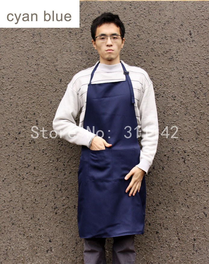 100 pcs Custom logo polyester apron 84cm x 60cm with adjustable button with pocket couples with free shipping by Fedex 13 colors(China (Mainland))