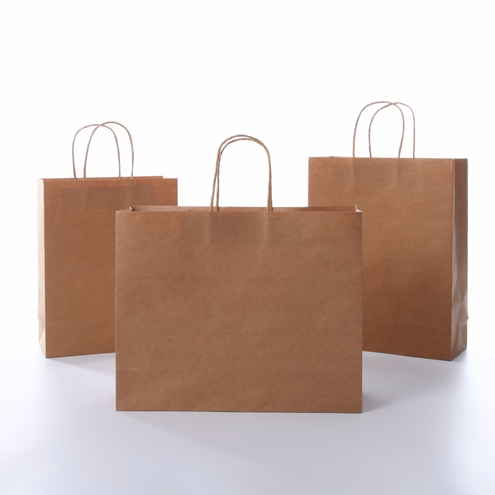 25pcs lot hot white and brown kraft paper bag with handle for Brown paper craft bags