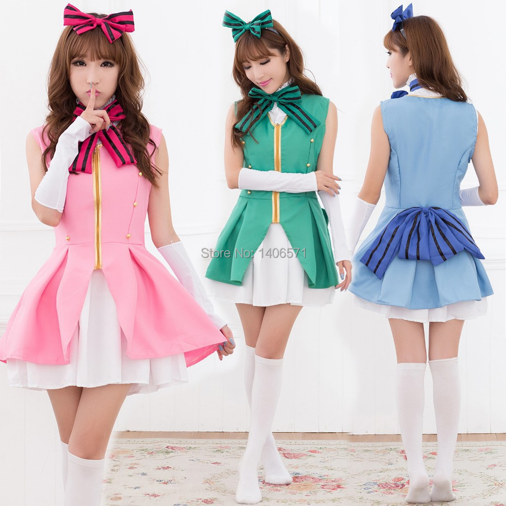 Anime Love Live Cosplay Start Dash Costume Lolita Dress Sailor moon bow unifrom Free Shipping(China (Mainland))
