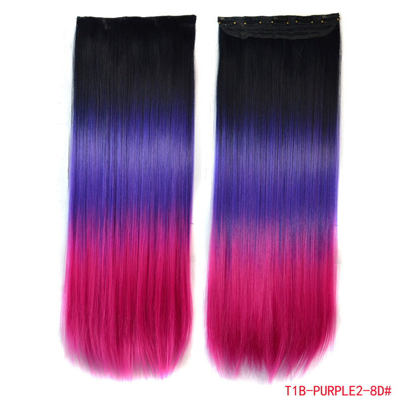 Fish Line Hair Tools As Gift + New Purple Ombre Color Clip In Hair Extensions For Women 120g/pc Hair Synthetic Japanese Fiber(China (Mainland))