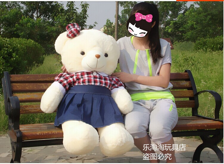 huge lovely check bow teddy bear toy bear doll with check skirt creative bear doll birthday gift about 110cm(China (Mainland))