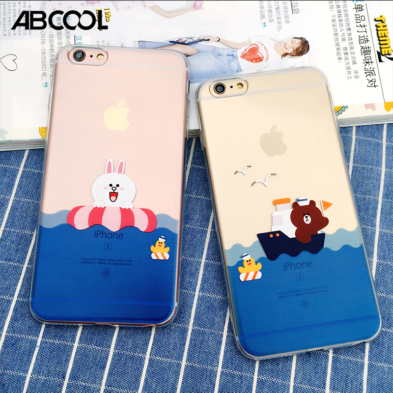 ABCOOL Brand 2017 Hot fashion Bear Brown Bunny Cony Transparent TPU Soft Silicone Couple phone Case For iphone 5S 5 SE 6 6S Plus(China (Mainland))