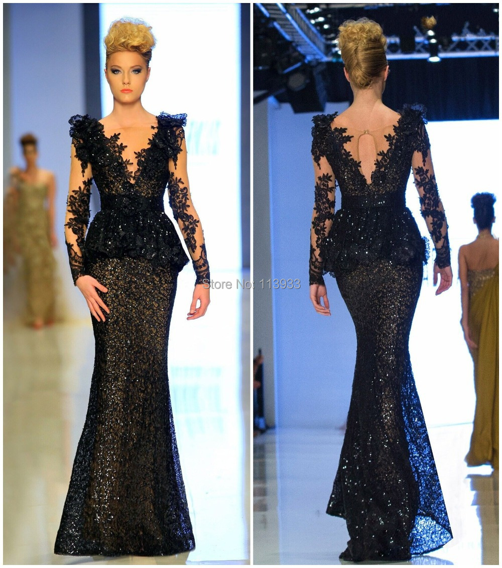 2016 Black Lace Backless Mermaid Long Sleeve Arabic Beaded vestidos de fiesta robe soiree Evening Prom Dress Gown Custom Made - Quality Life Wedding Dresses Factory store