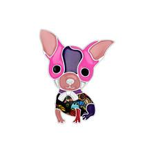 Bonsny Della Lega Dello Smalto Anime Chihuahua Cane Spille Monili Svegli Animale Spille Per La Sciarpa Vestiti Della Ragazza Delle Donne Della Decorazione Pet Gli Amanti del Regalo(China)
