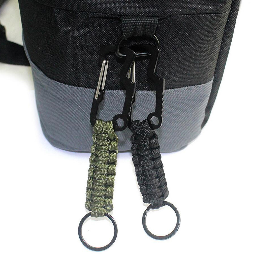Molle Paracord Keychain Carabiner Hook Braided Lanyard Utility Kit  Molle Key Ring Holder Belt Clip Buckle Carabiner