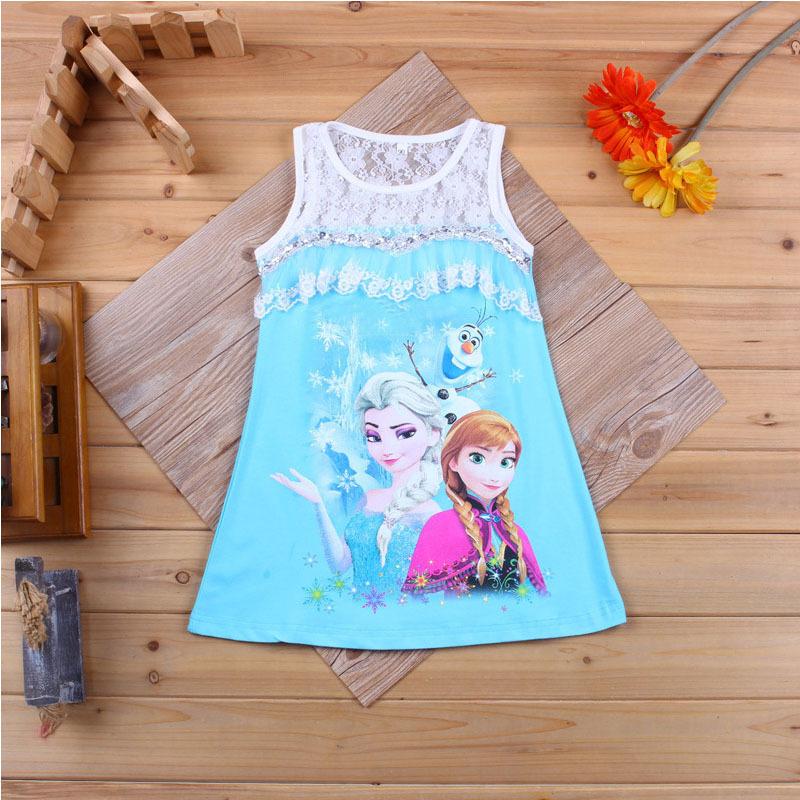 Cute Girl Elsa Anna Princess Lace Dresses Character Sleeveless Cotton Elza Dress Ball Gown for Little Girls vestidos CA022(China (Mainland))