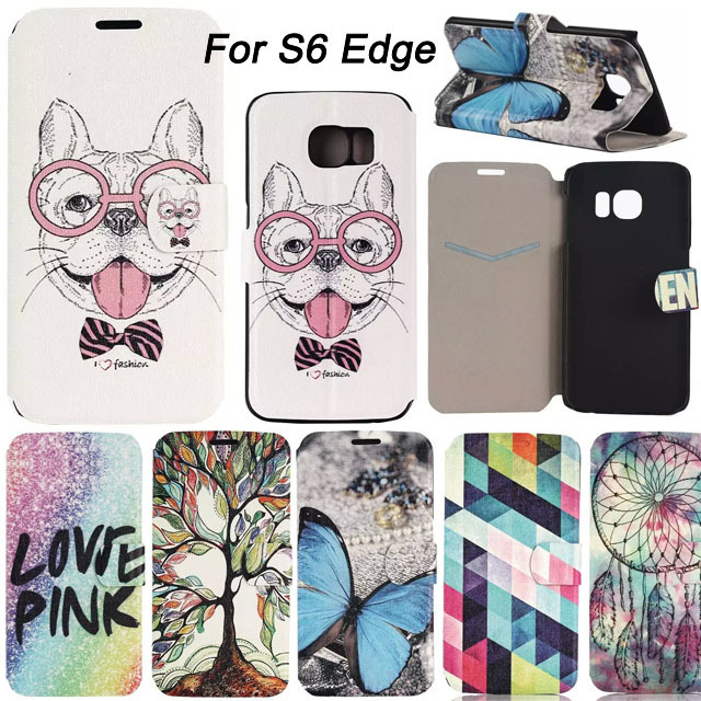 Perfume Cartoon Print Beautiful Book Style Leather Flip Case Cover For Samsung Galaxy S6 Edge G9250 Protective Covers Bag(China (Mainland))