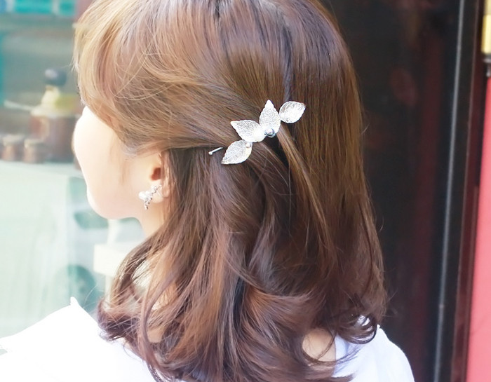 Free Shipping Women's big Leaves hairpins Lovely fashion girl's cute hair clips with beads hair accessories 2016(China (Mainland))