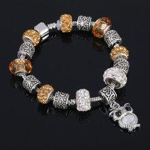 Buy LIVVY 2016 money Charm Bracelet open Heart Charm Bracelet Blue Glass friendship bracelet pan Bracelet for $3.11 in AliExpress store