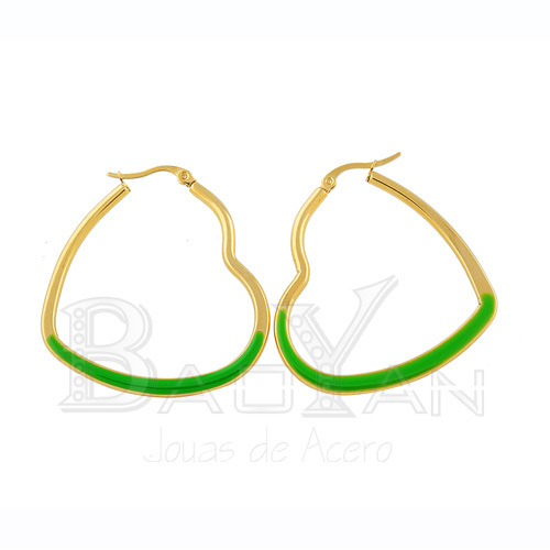 44*41mm Gold plated stainless steel green heart earrings website(China (Mainland))
