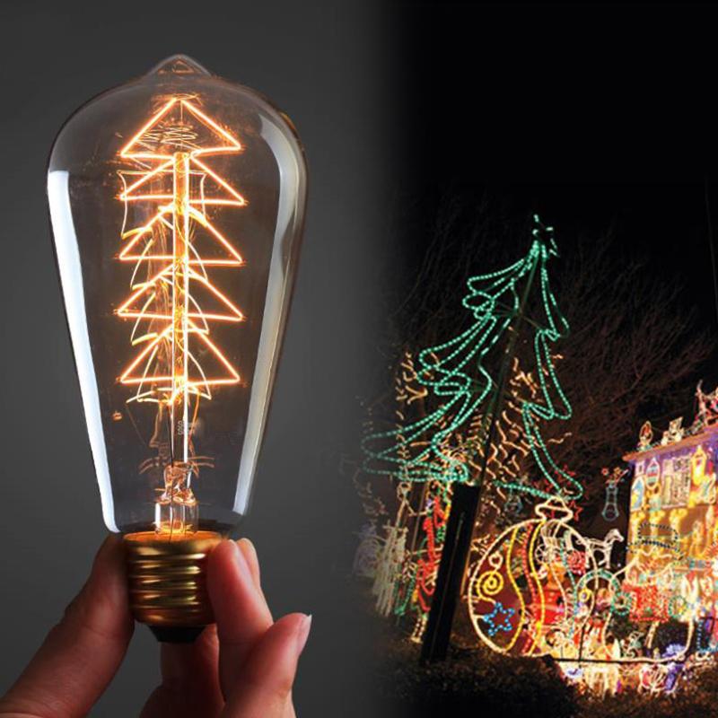 4pcs/lot Christmas tree Vintage Edison light Bulb 40W 110V/220V ST64 carbon filament Tungsten for Household/Bar/Coffee Shop(China (Mainland))