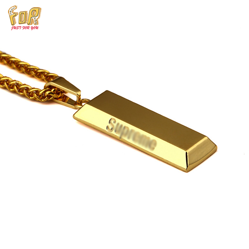 JFY NECKLACE BRAND 18K Gold Cube Bar SUPREME Necklace&Pendant Hip Hop Jewelry Dance Charm Franco Men Chain Necklace Gold Unisex(China (Mainland))