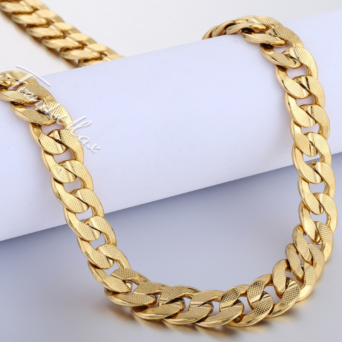 9mm Mens Boys Chain Necklace Curb 18k Gold Filled Necklace