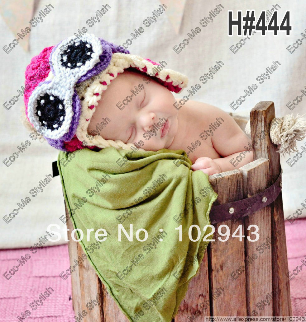 Free Shipping lovely Hand Knitted Pilot Hat with earflaps,Cotton Crochet Newborn baby Girl Aviator with Glass Beanie(China (Mainland))