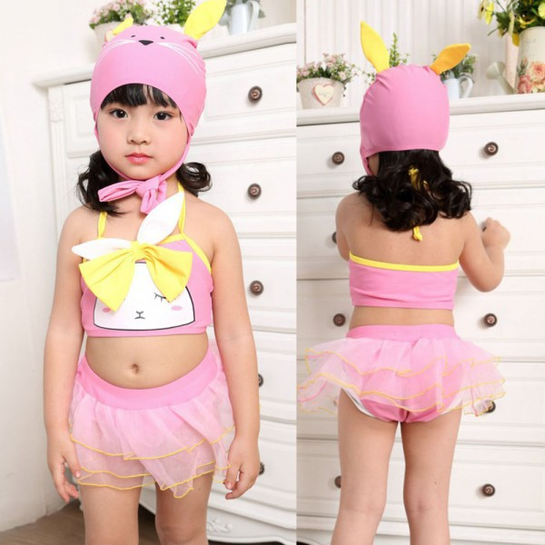 Милые девушки дети купальники животных шаблон купальник бикини + юбка + шляпа купальщиков бесплатная доставка