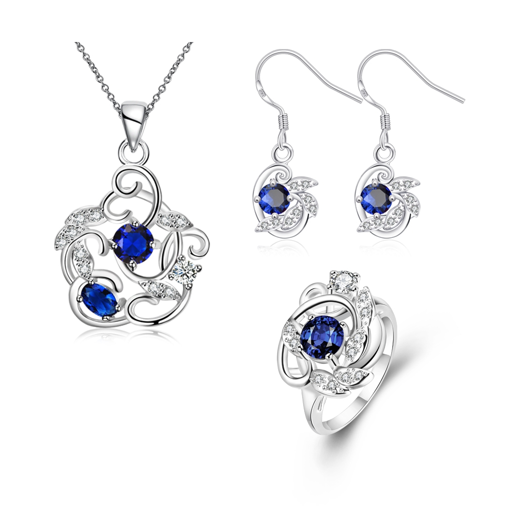 HIBRIDE Luxury White Gold-Color Dark Blue AAA Cubic 8