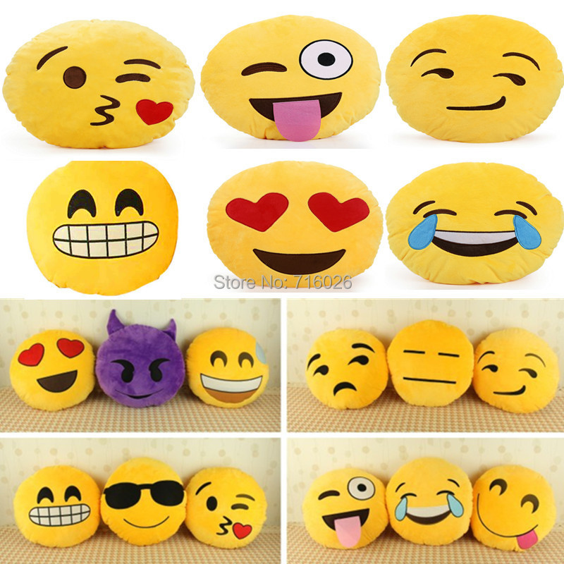 Emoji Smiley Emoticon Yellow Round Cushion Pillow Stuffed Plush Toy Doll Sofa Home Decoration Xmas Christmas Gifts - Future Star Trading Co.,Ltd store