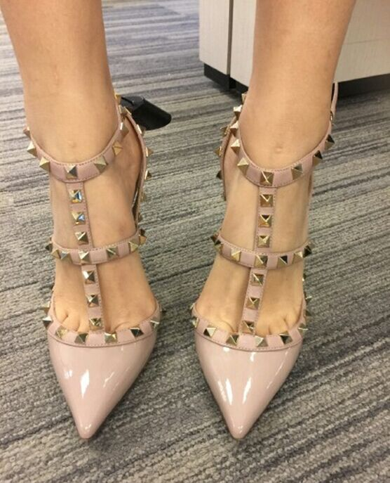 Гаджет  Designer pointed toe multi strap studs high heels genuine leather women shoes  spikes  None Обувь