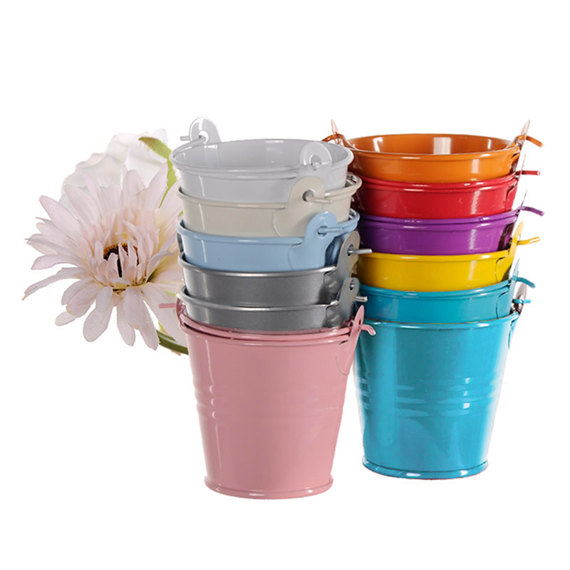9pcs Colorful Mini Metal Bucket Candy Favours Box Pail Wedding Party Gifts E2shopping J2Y(China (Mainland))