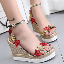 Buy Mixed Color Fashion Summer Wedges Women's Sandals Platform Bling Stars Flip Flops open toe high-heeled Women shoes Female for $19.23 in AliExpress store